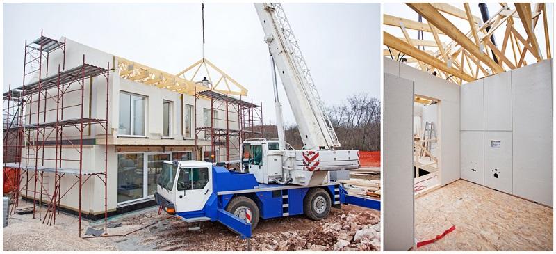 Bei der Fertigbauweise werden die meisten Teile <strong>bereits im Werk vorgefertigt</strong> und anschließend <strong>auf die Baustelle geliefert</strong>. ( Foto: Shutterstock- JRP Studio )