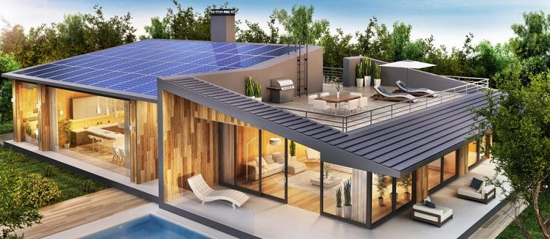 Ein neues Haus mit Kollektoren auf dem Dach bekommt auf jeden Fall die Foerderung( Foto: Shutterstock- Slavun )
